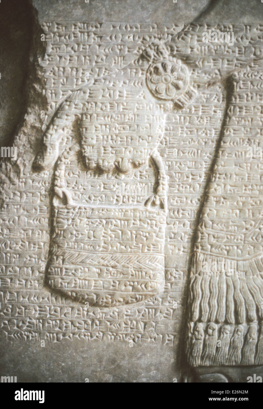 Assyrian art,cuneiform written on relief from Nimrud of 883-859 DC,Pergamom museum,Berlin - Stock Image