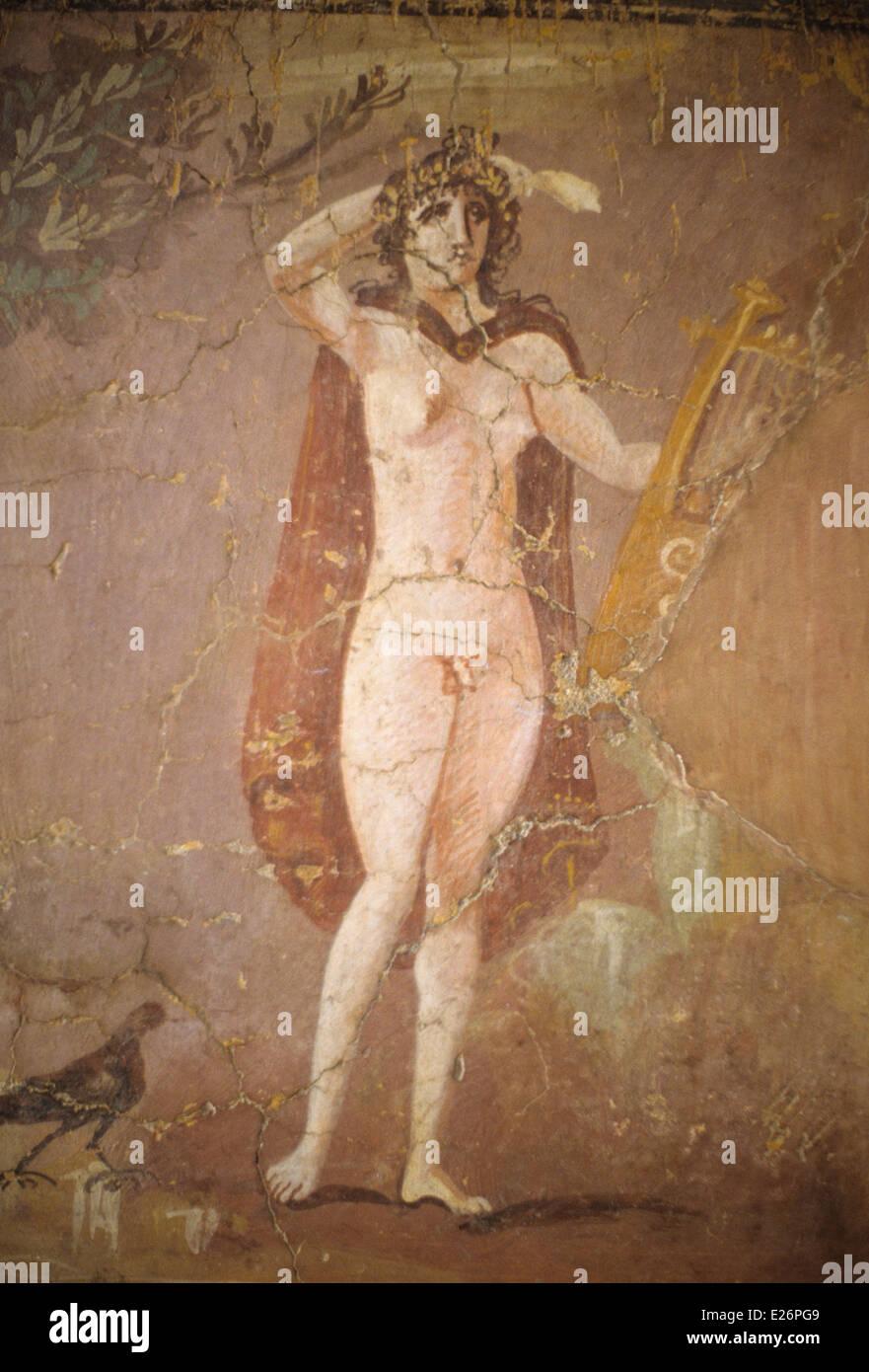 Roman art,hermaphroditus,fresco fragment of the 2nd century,Barracco Museum,Rome Stock Photo