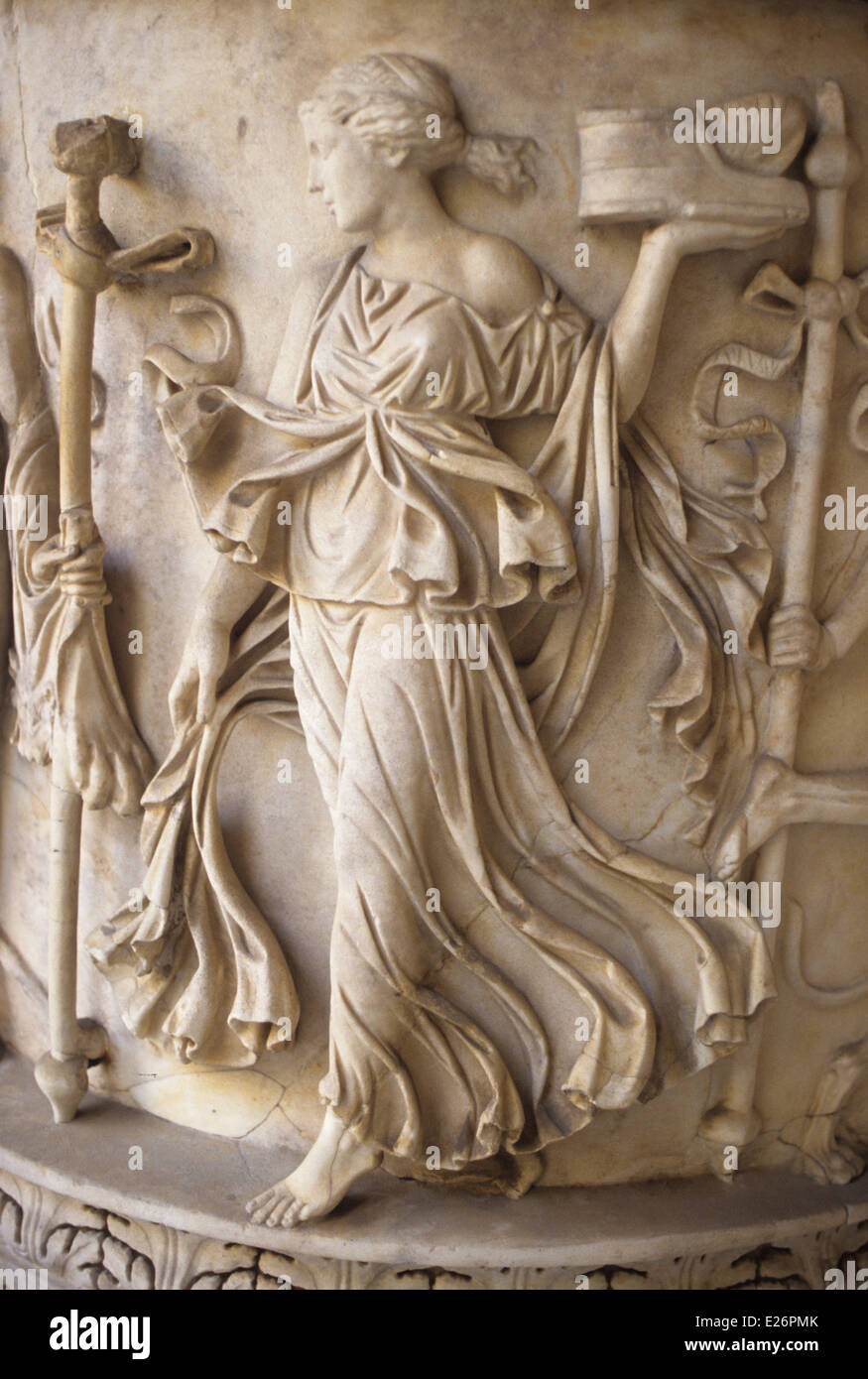 Roman history,dancing maenad,particularly the sarcophagus of the 3rd century AD,the Vatican Museums,Rome Stock Photo