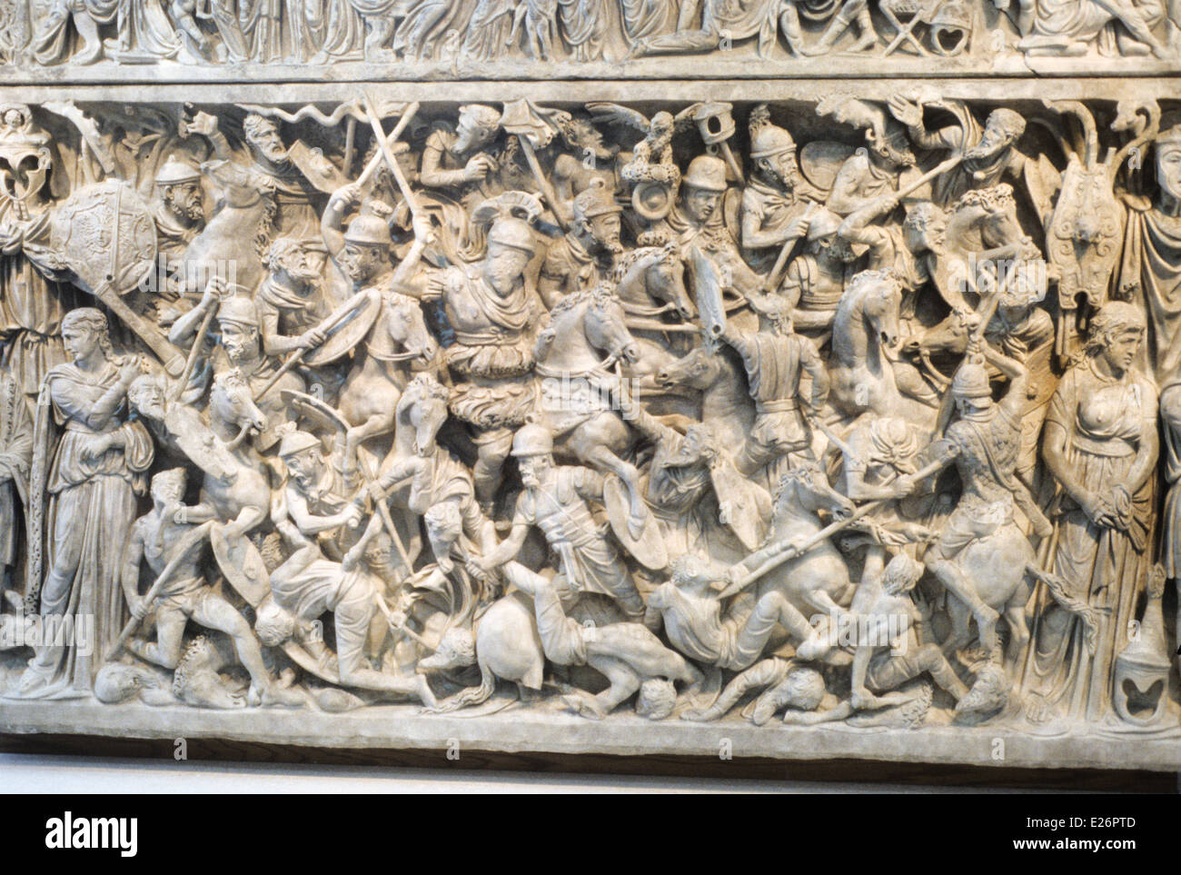 Roman history,the Romans against the Barbarians,detail of a sarcophagus from the 2nd century BC,Roman National Museum,Rome - Stock Image