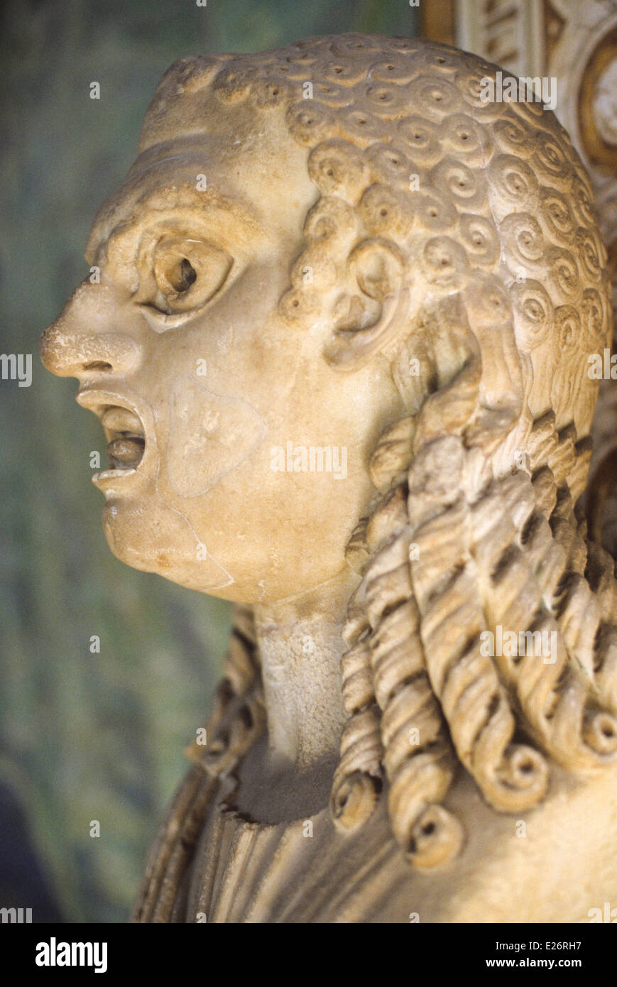 Roman history,mask depicting the tragedy,the Vatican Museums,Rome - Stock Image
