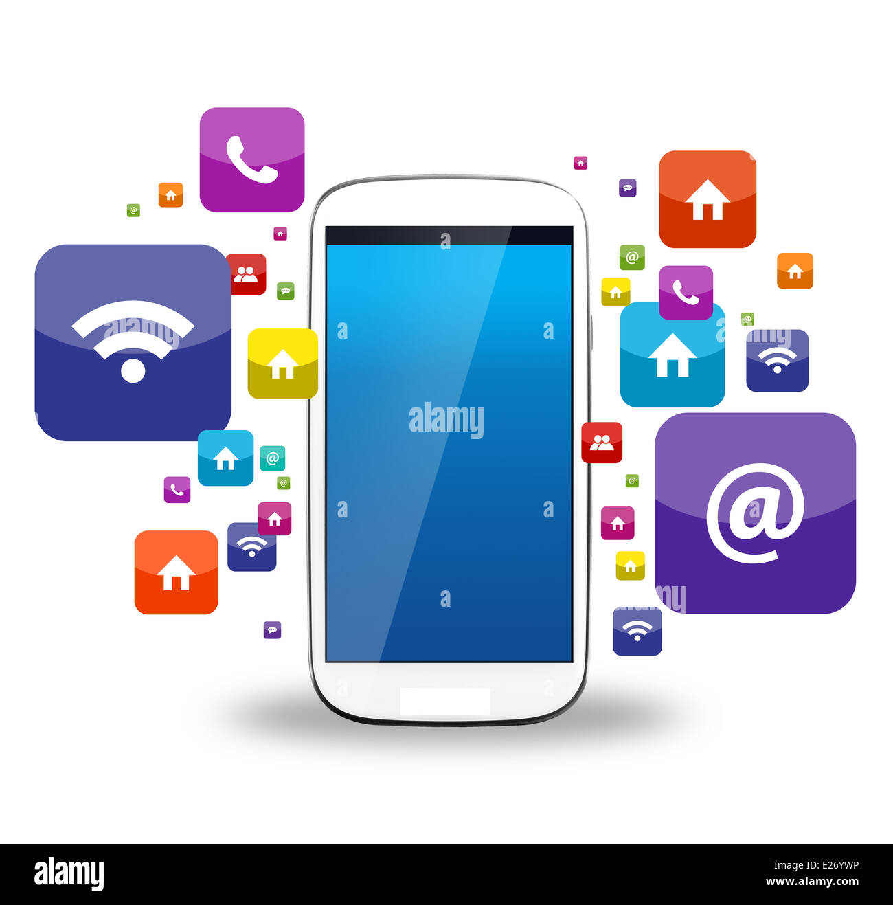 Photo of smartphone and app icons. Apps is a piece of software. It can run on the Internet, computer and smartphone - Stock Image