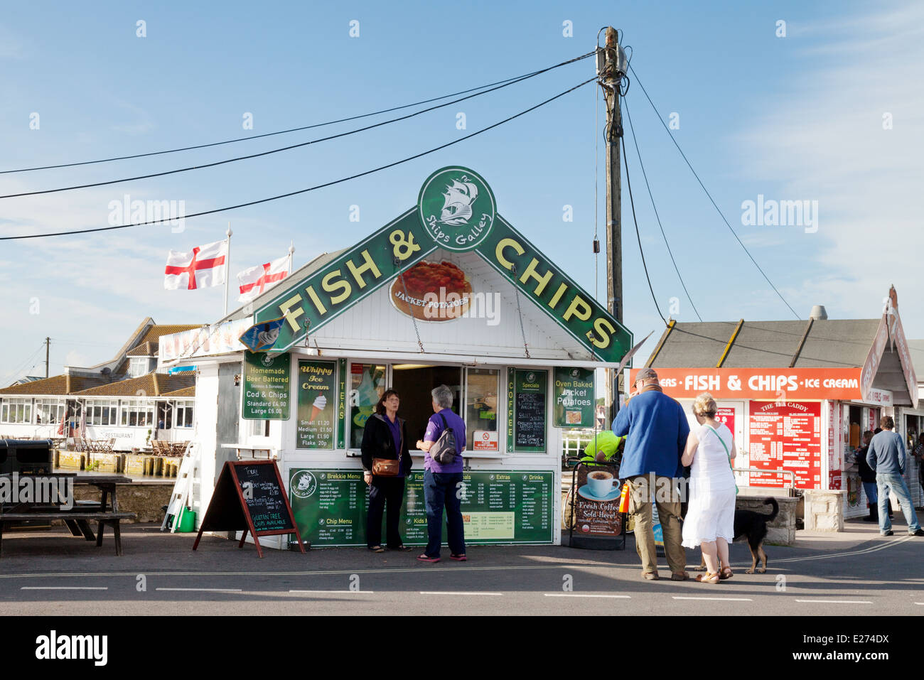 Fish and Chips shop, West Bay, Dorset England UK - Stock Image
