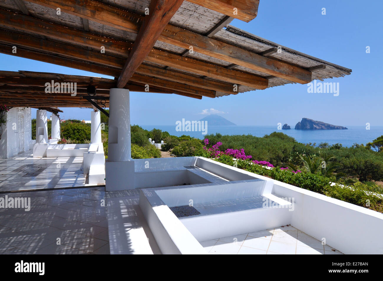 Panarea aeolian terrace and view to Stromboli - Stock Image