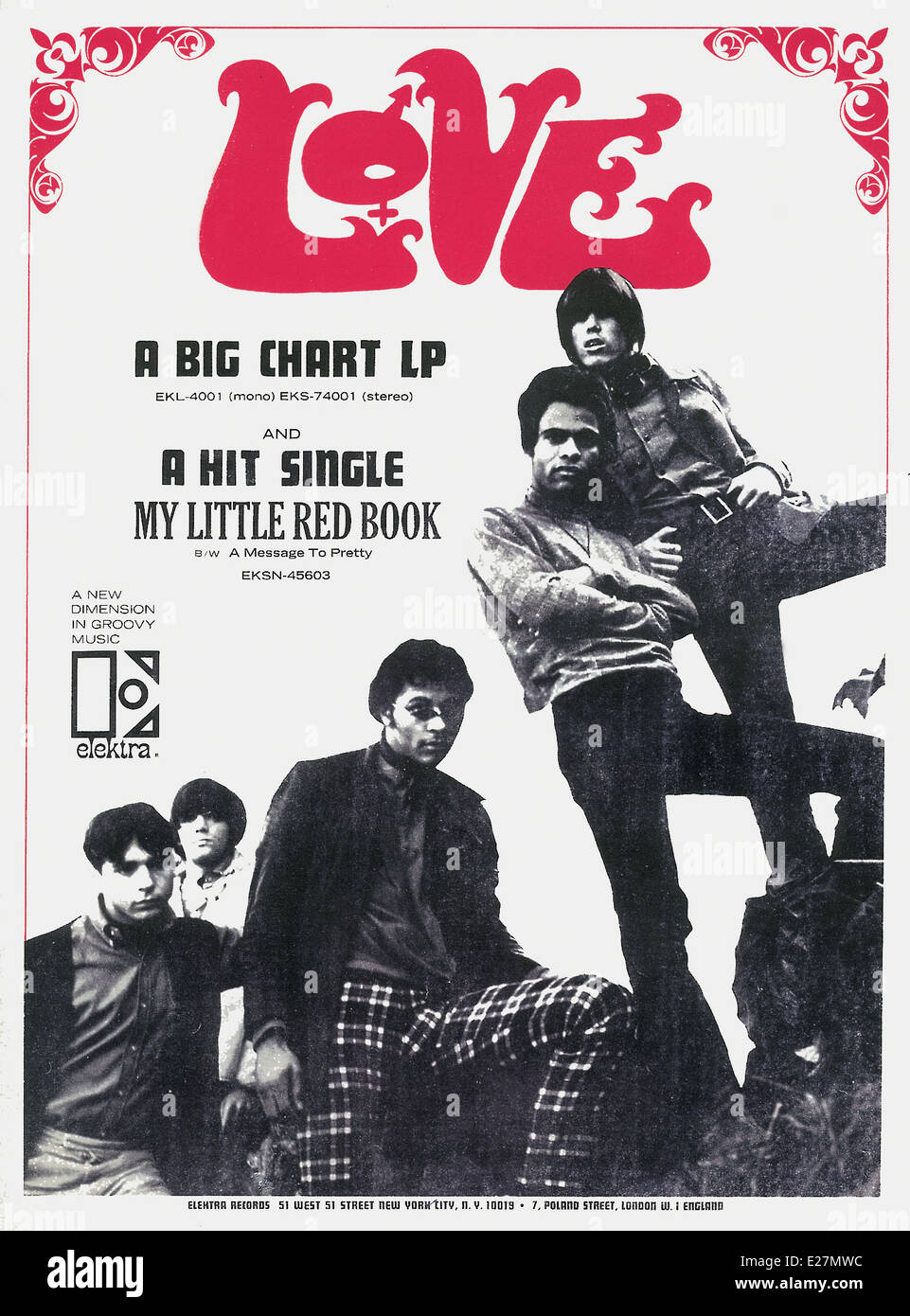 Print ad for band LOVE, featuring Arthur Lee circa 1960s.  Courtesy Granamour Weems Collection. Editorial use only. - Stock Image