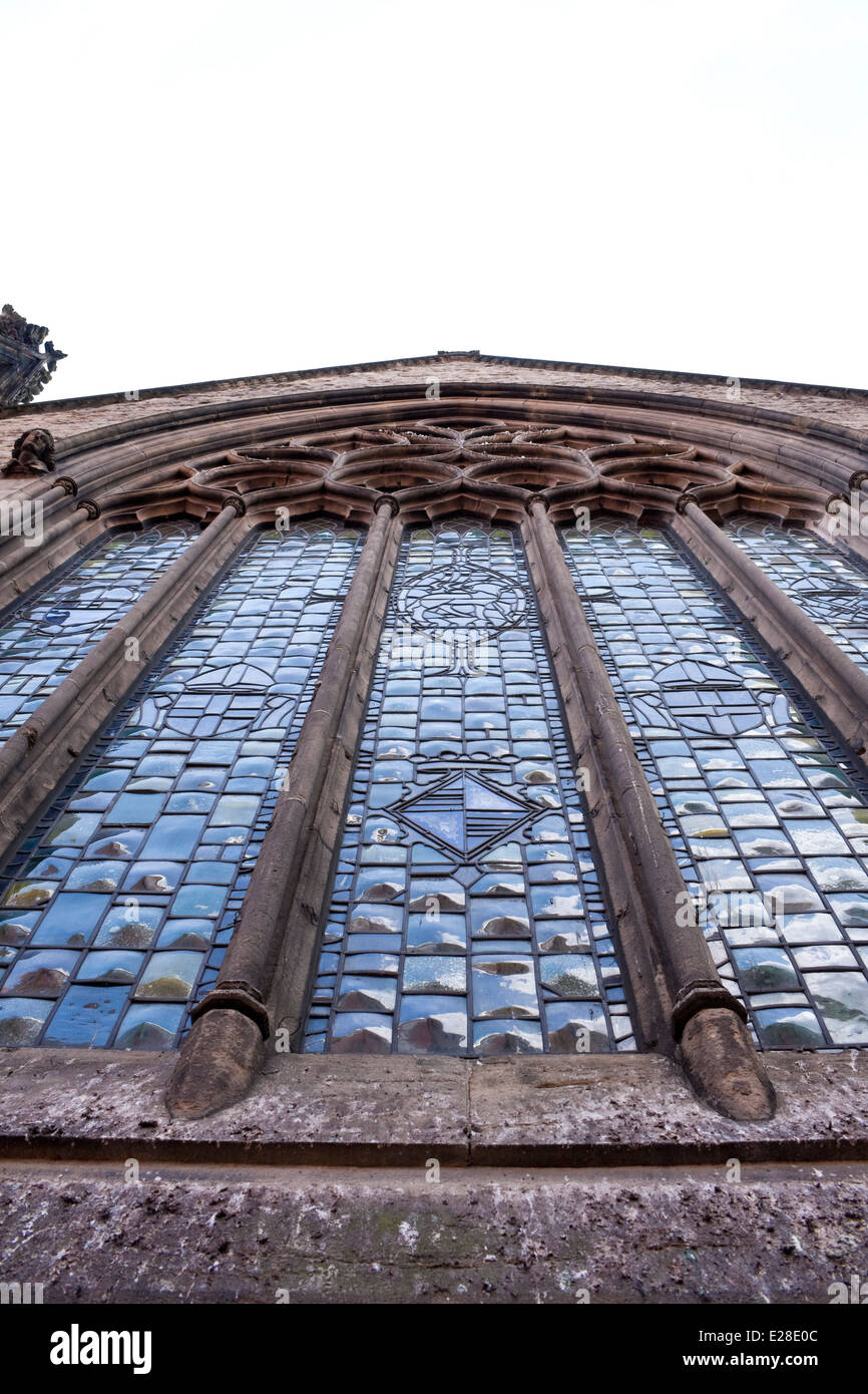 Worm's eye view of an English church window - Stock Image
