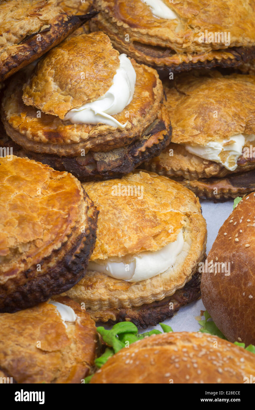 A central France speciality, potato pies are a kind of pies containing potatoes cut into thin slices and thick fresh Stock Photo