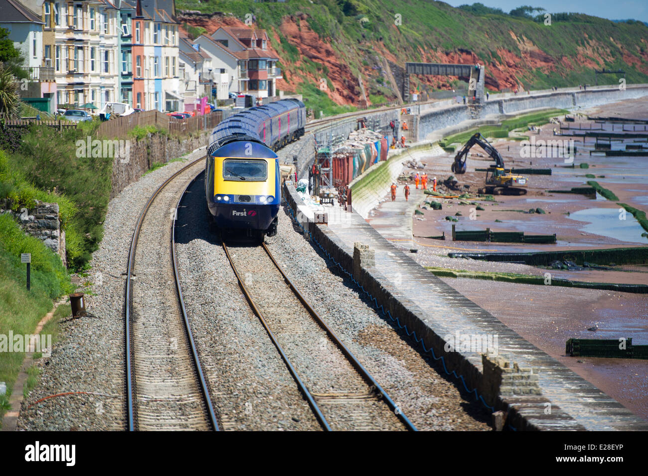 A First Great Western train arriving at Dawlish station in England, UK - Stock Image