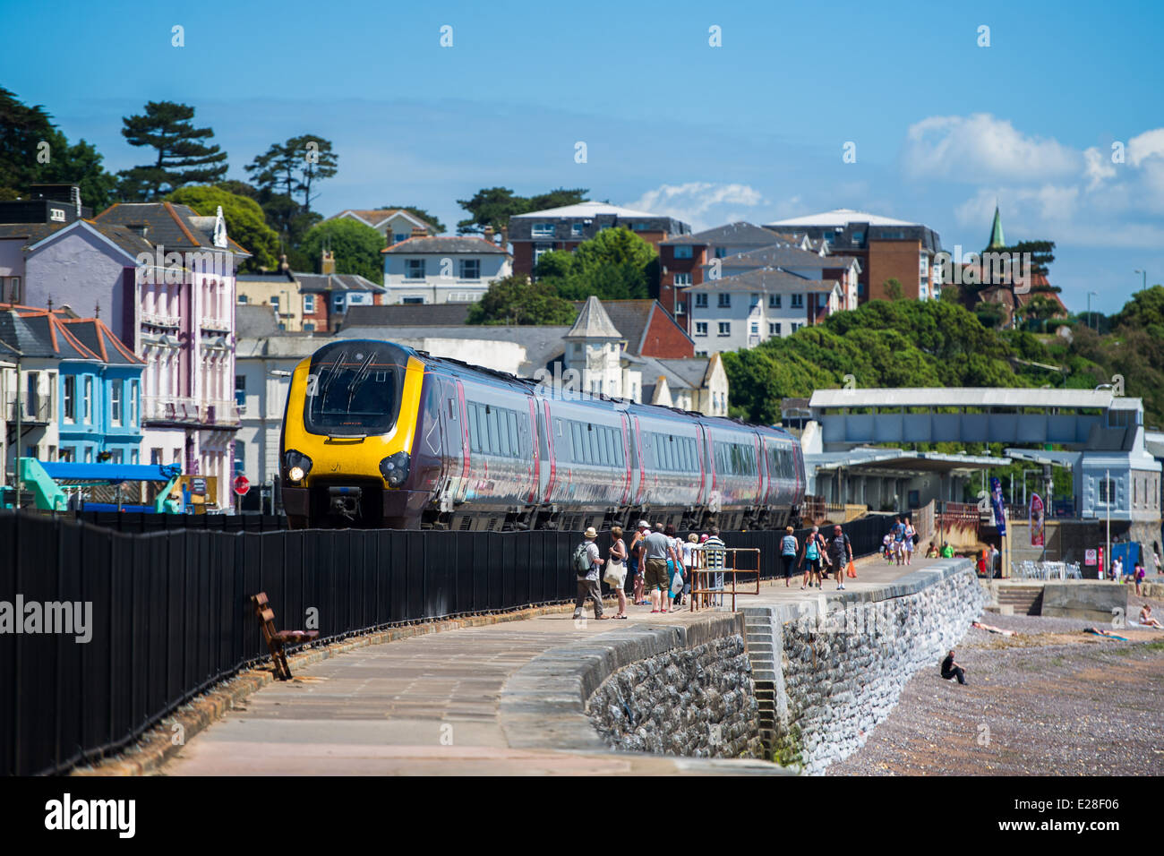 A Cross Country train at Dawlish station in England. - Stock Image