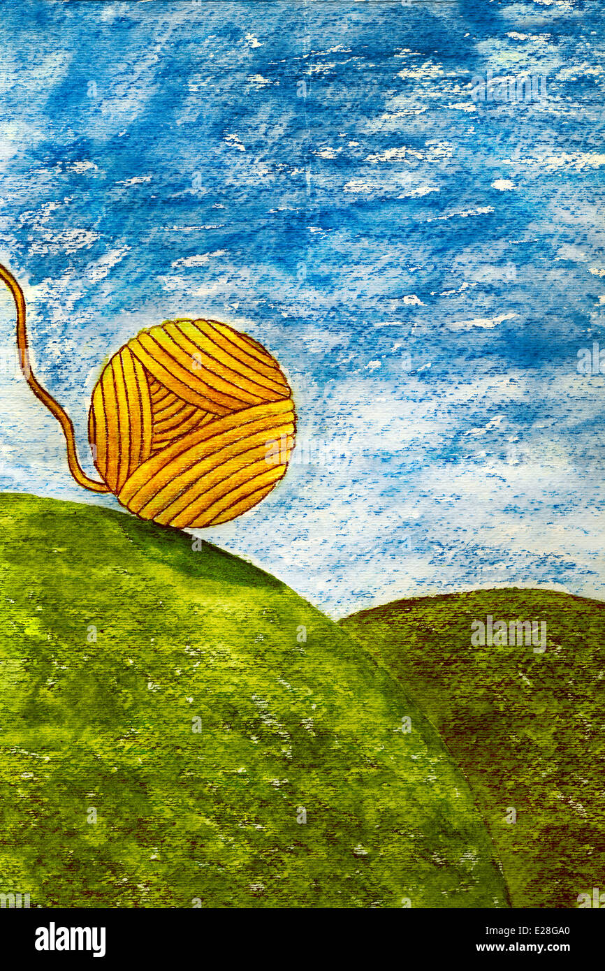 Uncontrollable ball of string or twine rolling down a hill. - Stock Image