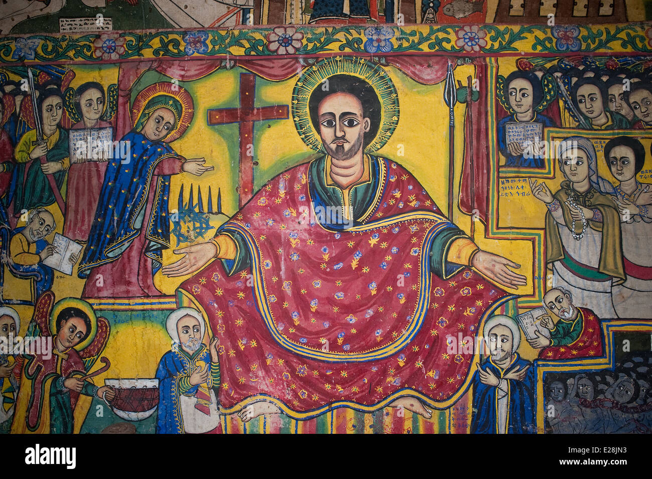 Mural painting in a orthodox monastery. It is depicting Jesus  ( Ethiopia) - Stock Image