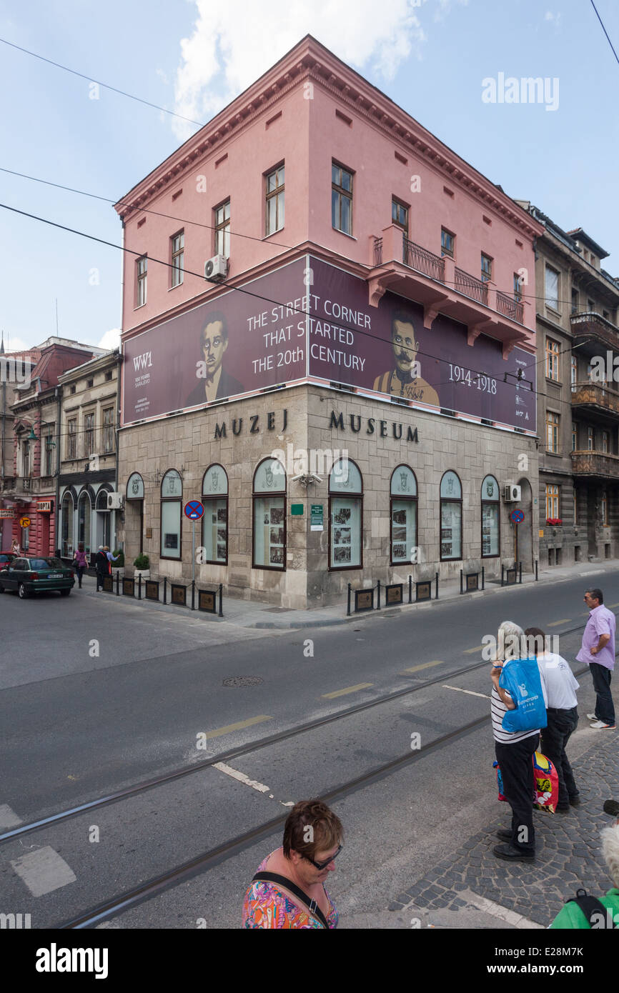 The museum is dedicated to the events of 28 June 1914 when Bosnian Serb Gavrilo Princip assassinated the Archduke Stock Photo