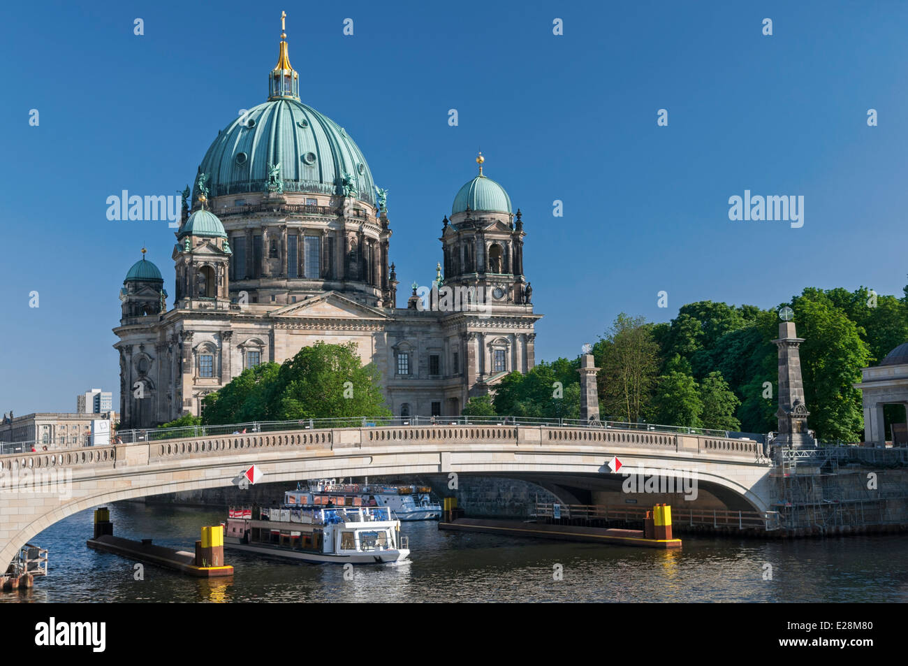 Berlin Cathedral Berliner Dom and Spree River bridge Berlin Germany - Stock Image