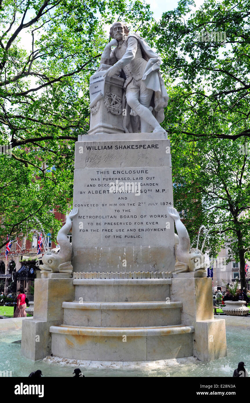 A close up view of  Shakespeare statue in Leicester Square, London, UK. - Stock Image