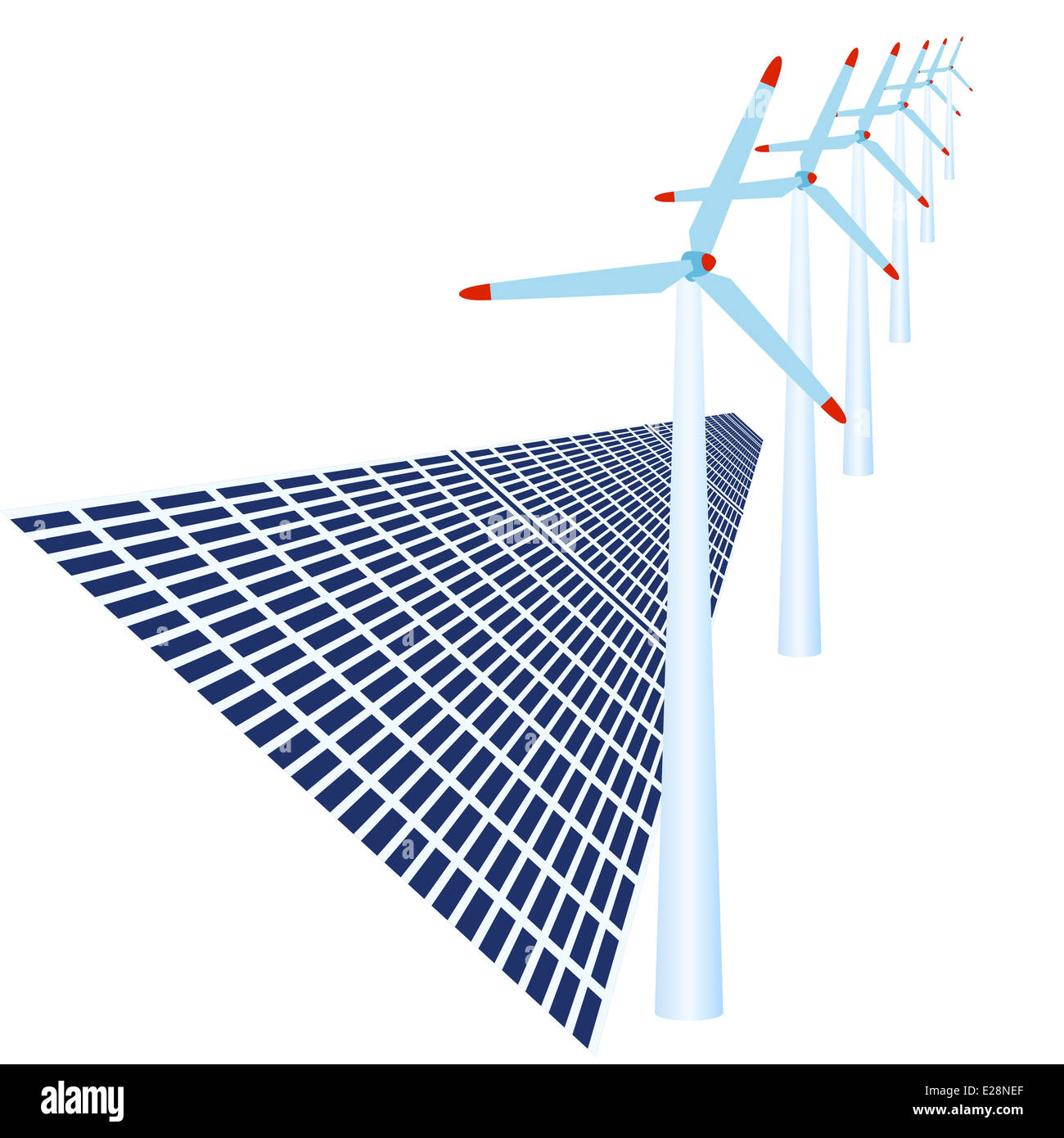 Solar Panels And Wind Power To Generate Electricity Illustration On Generating Diagram White Background
