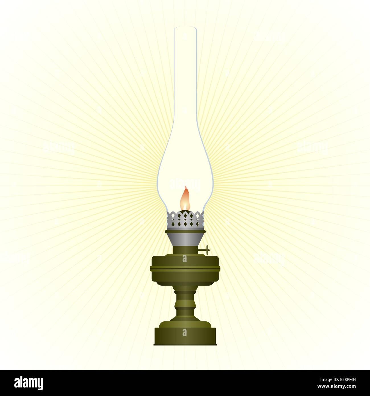 Burning old kerosene lamp. Illustration on white background. - Stock Image