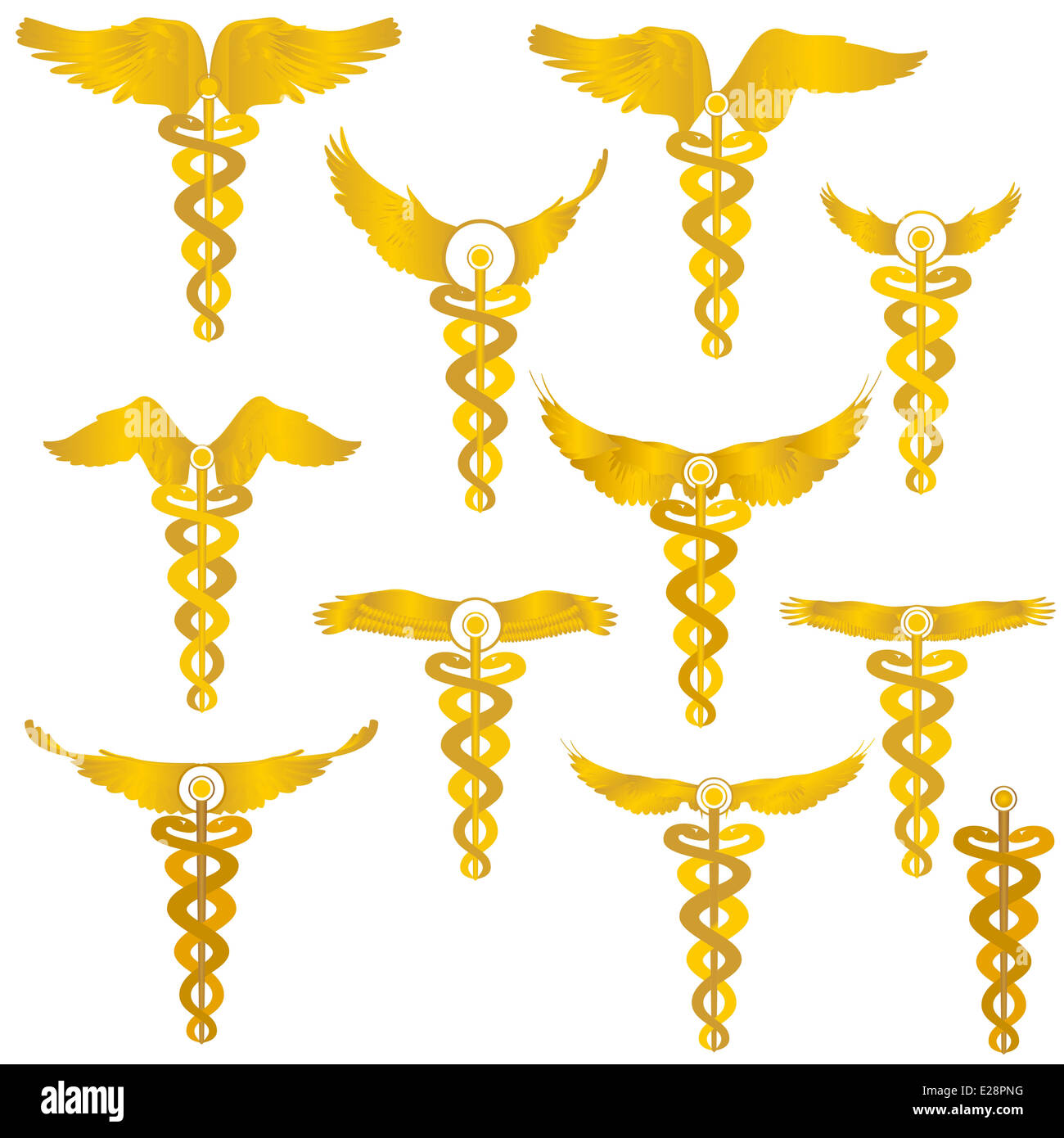 Medical Symbol Wand With Wings Which Wound Two Snakes Illustration On White Background