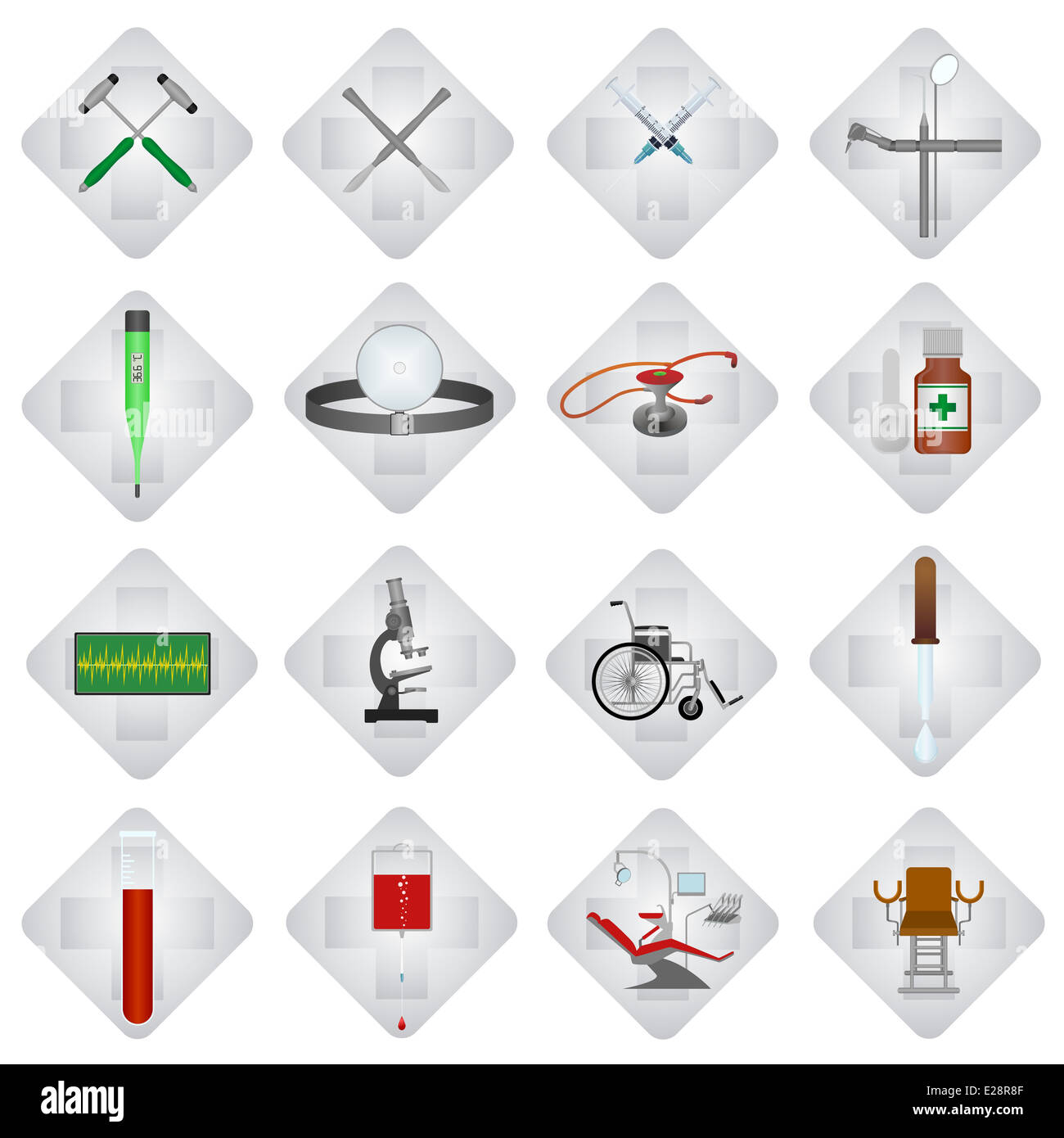 Set of medical icons and objects. Illustration on white background. - Stock Image