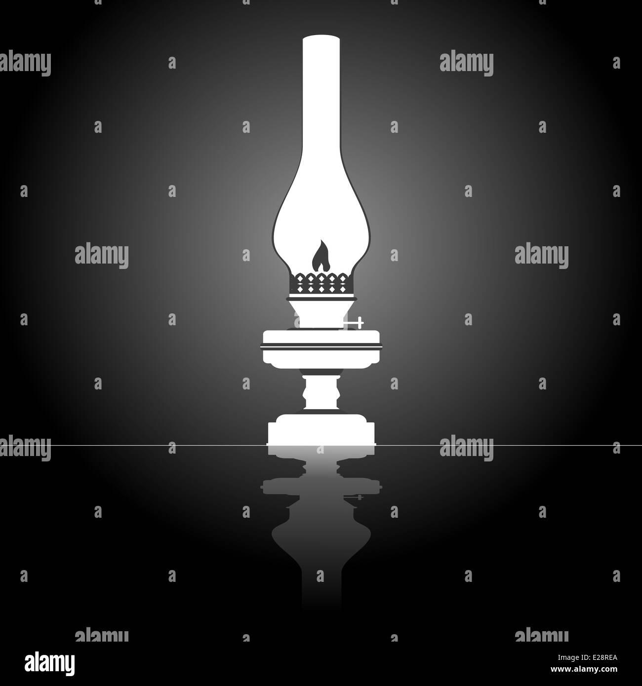 Burning old kerosene lamp. Illustration on black background. - Stock Image