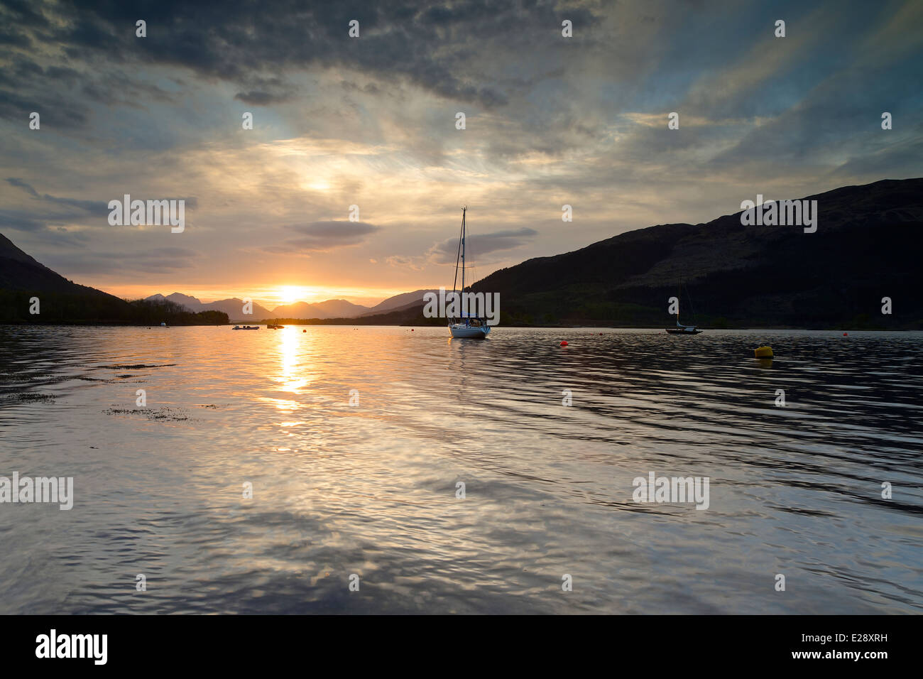 Sunset on loch leven near Ballachulish - Stock Image