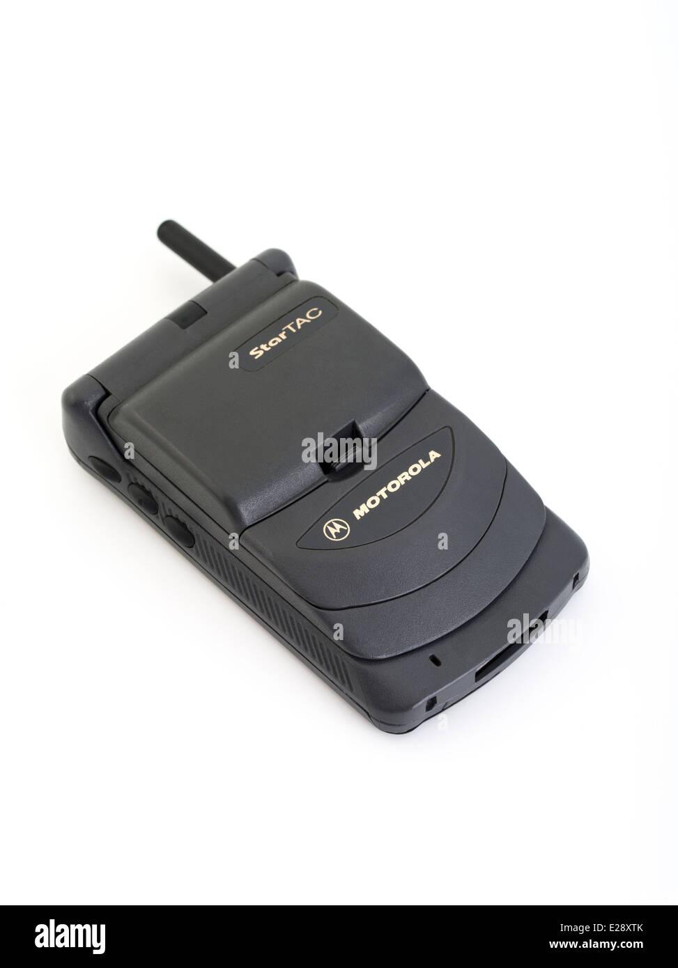 Motorola StarTAC star tac 85. First Clamshell / flip mobile phone released 1996 - Stock Image