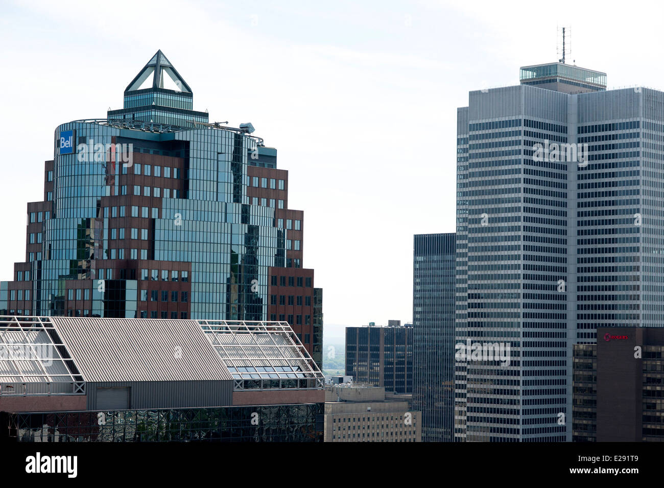 View of Place Ville-Marie IM Pei building [right] in downtown Montreal viewed from the plaza on Mount Royal Lookout Stock Photo