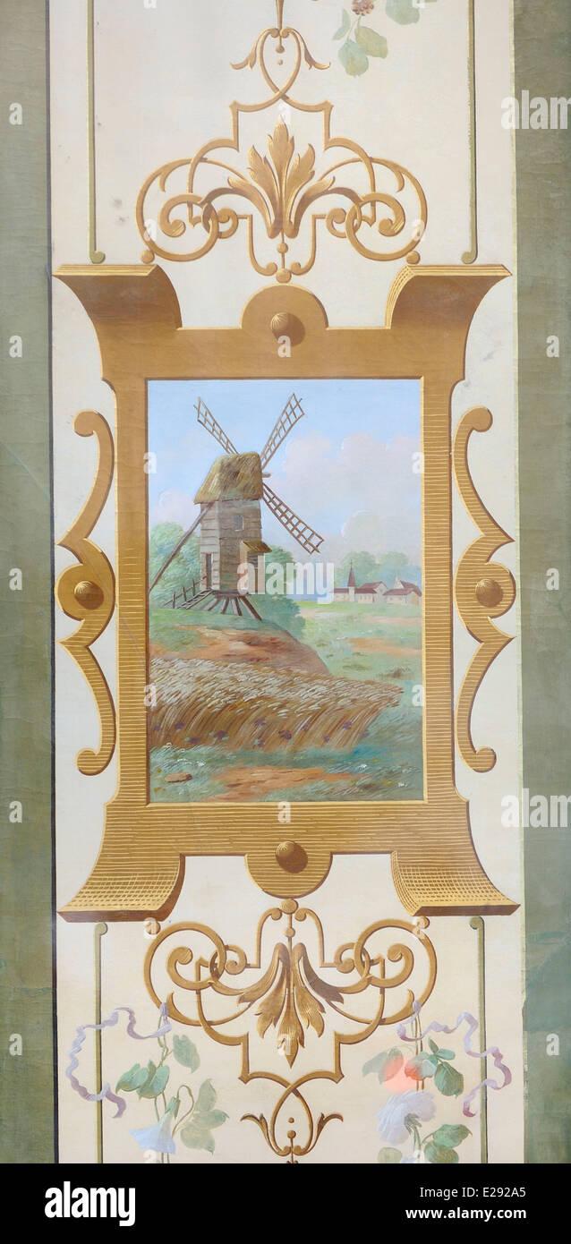 France, Paris, Marais district, Rue de Sevigne, Old bakery, Decorated front, Windmill - Stock Image