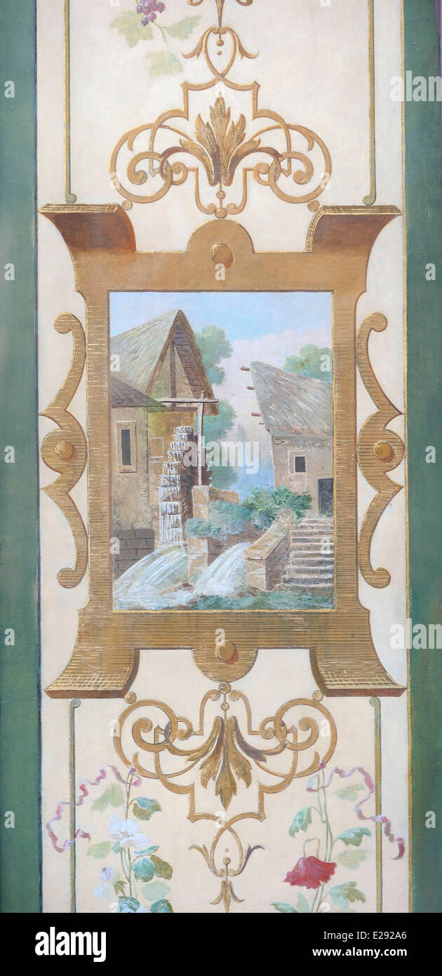 France, Paris, Marais district, Rue de Sevigne, Old bakery, Decorated front, Watermill - Stock Image