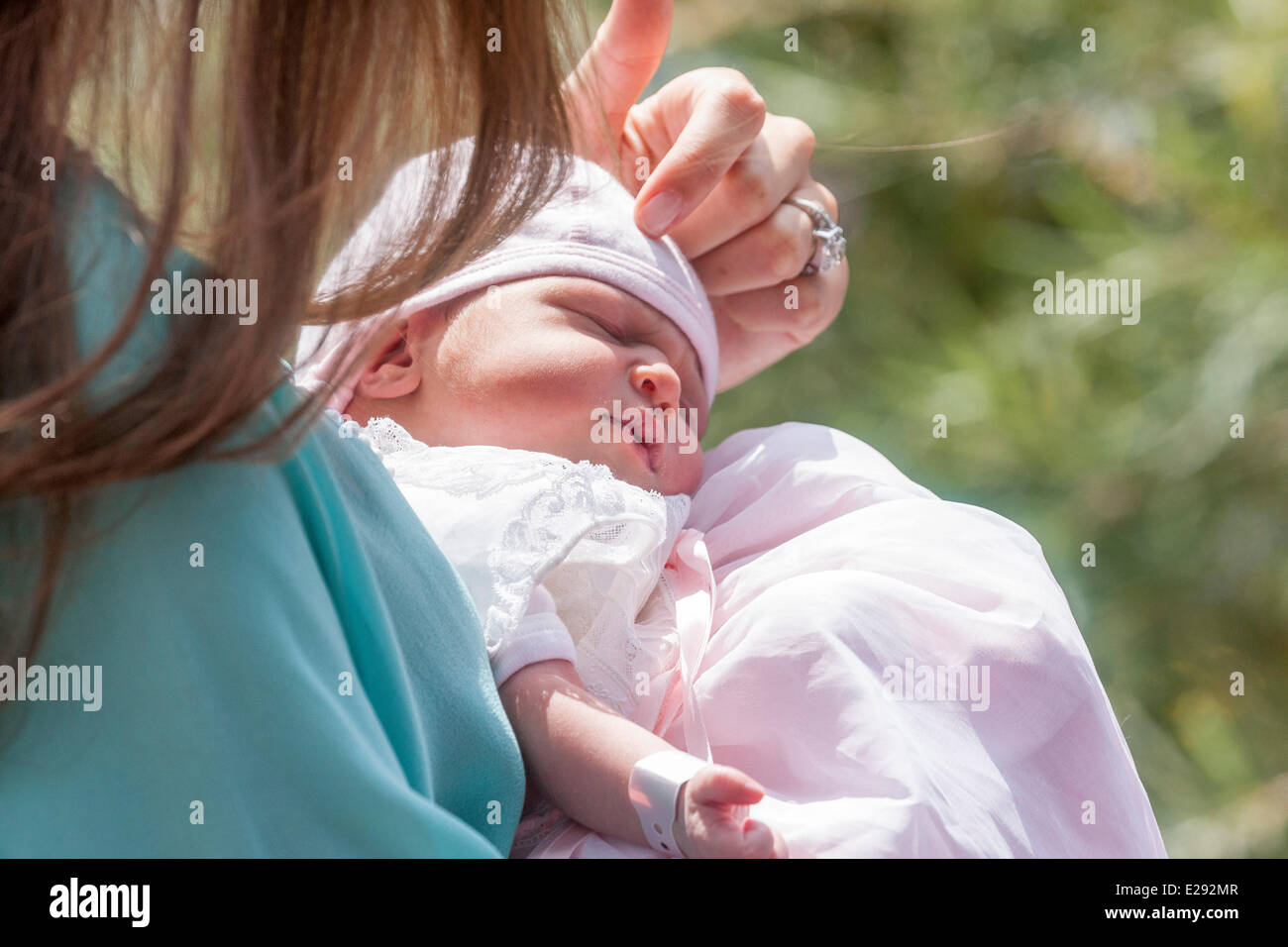 Luxembourg. 17th June 2014. Princess Amalia was born on 15th June 2014. Today she is leaving hospital on the arms - Stock Image