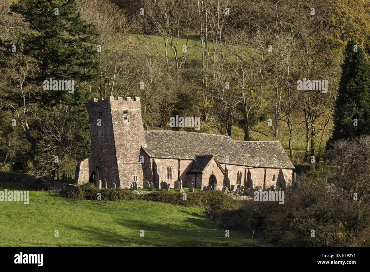 Church with leaning tower caused by subsidence, Church of St. Martin, Cwmyoy, Llantony Valley, Brecon Beacons N.P., - Stock Image