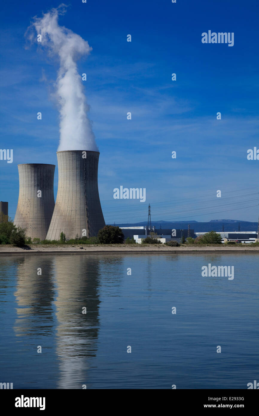 France, Drome, Tricastin industrial nuclear site, cooling tower of Eurodif uranium enrichment plant operated by - Stock Image
