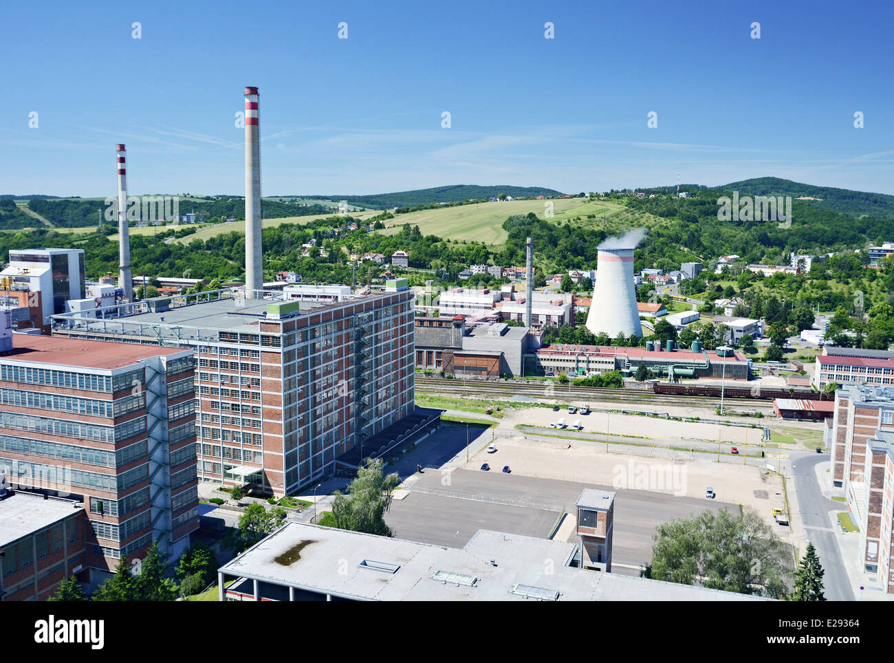 View to the Zlin city, Czech Republic. Industrial district. - Stock Image