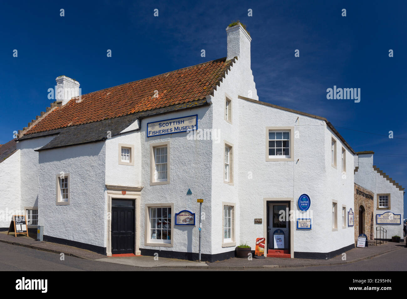 Scottish Fisheries Museum in Anstruther in the East Neuk of Fife showing the Traditional Crow Stepped or Corbie - Stock Image