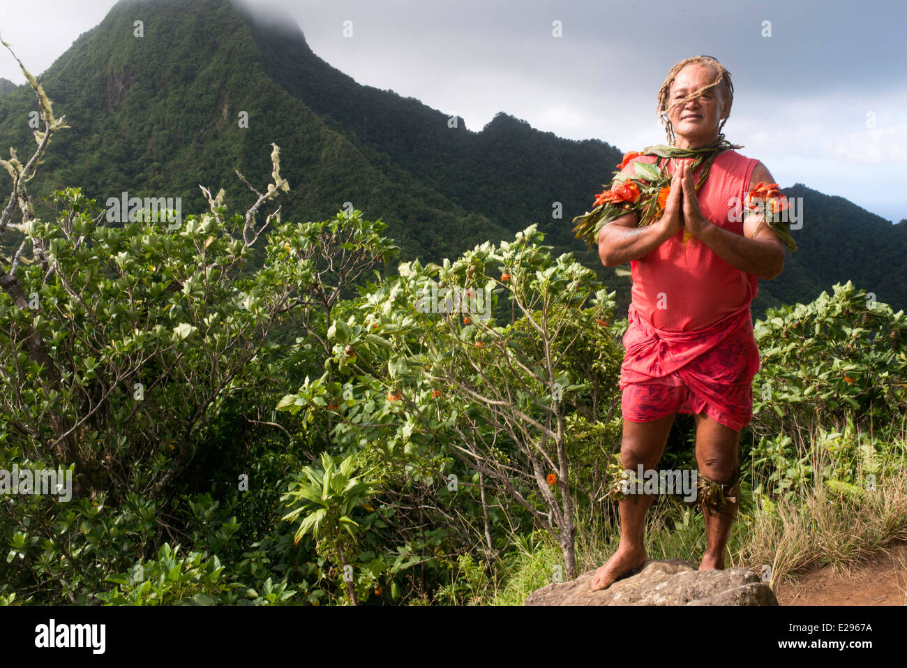 Rarotonga Island. Cook Island. Polynesia. South Pacific Ocean. Pa's Cross Island Walk.  Trekking in the mountains - Stock Image
