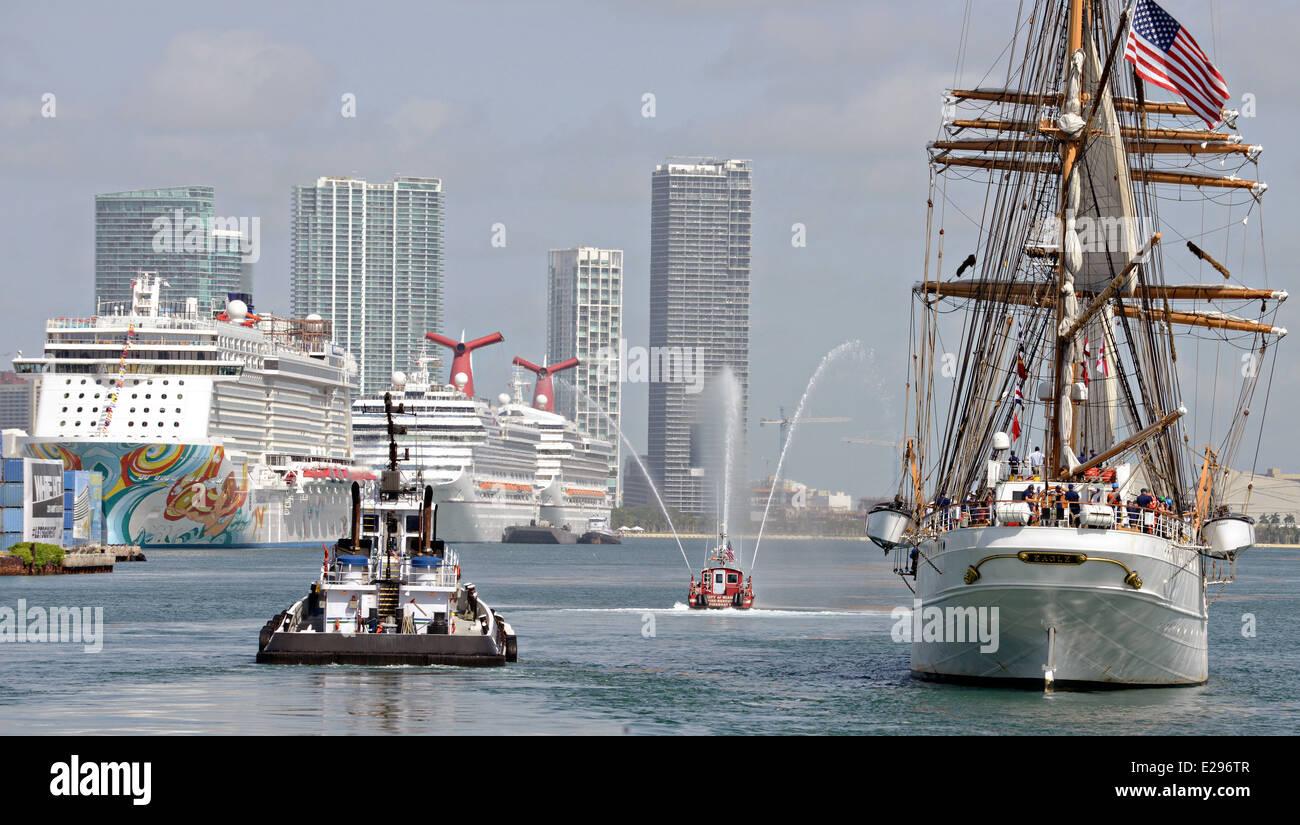 US Coast Guard tall sailing ship Barque Eagle arrives Port of Miami June 13, 2014 in Miami, Florida. The Eagle is - Stock Image