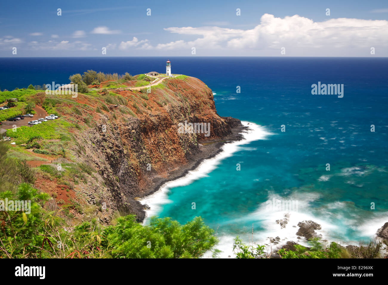 Quaint Kilauea Lighthouse on the beautiful west shore of Kauai, the Garden Isle of Hawaii - Stock Image