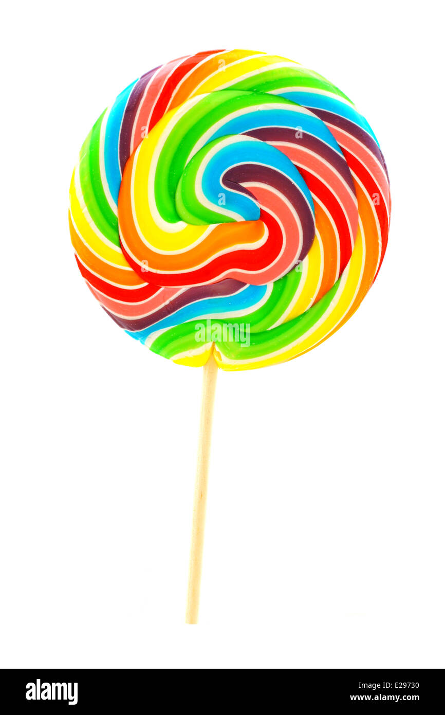Single multi colored lollipop candy isolated on white - Stock Image