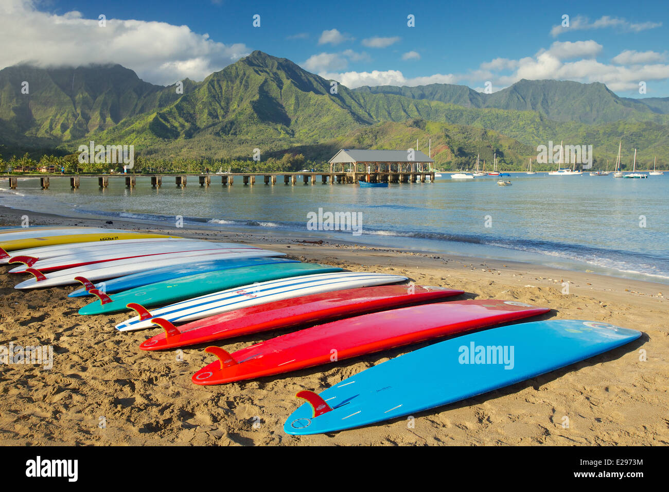 Surf boards on the beach at Hanalei Bay in Kauai, the Garden Isle of Hawaii - Stock Image