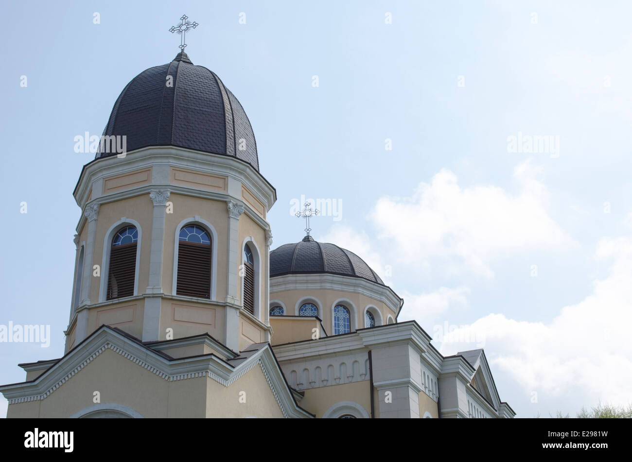 Bulgarian church with cross on blue sky Stock Photo
