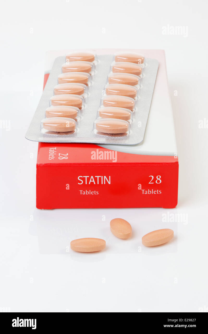 A generic pack of the controversial cholesterol preventative drug Statin - Stock Image