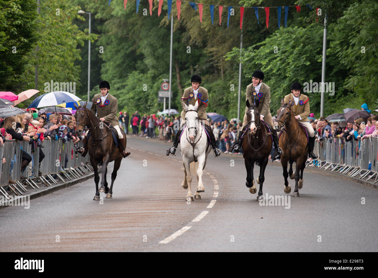 Selkirk Common Riding 2014. The attendents gallop in at the Toll. - Stock Image