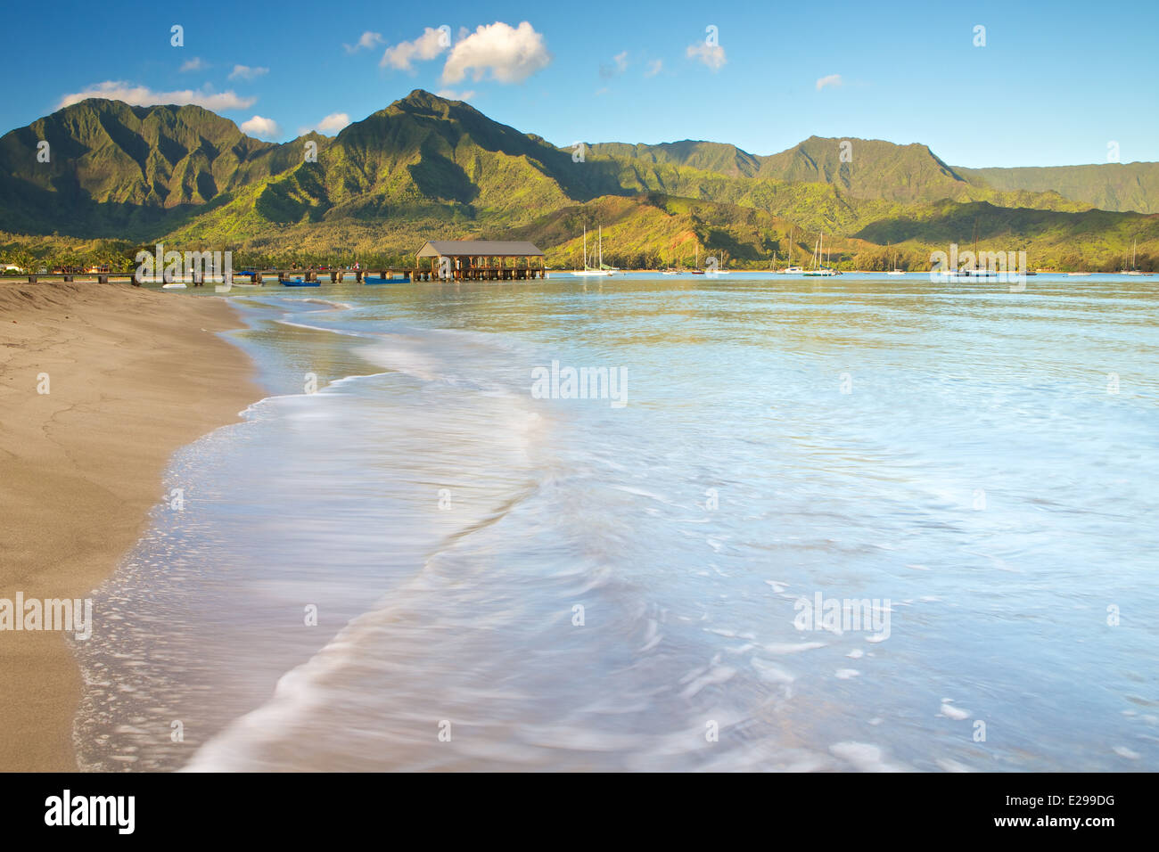 Sunrise on the beach at Hanalei Bay in Kauai, the Garden Isle of Kauai - Stock Image