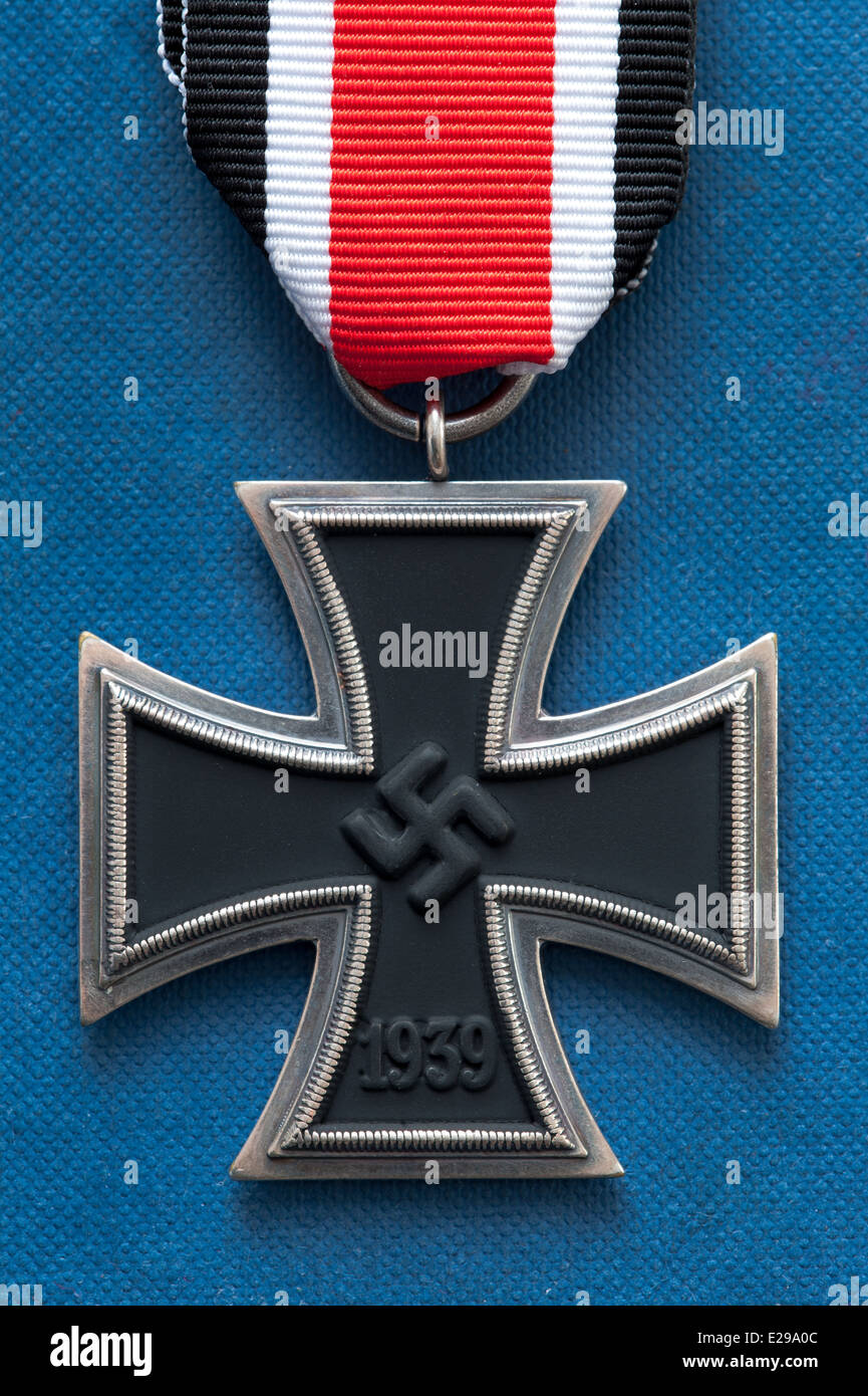 iron cross medal german third reich military world war two with swastika - Stock Image