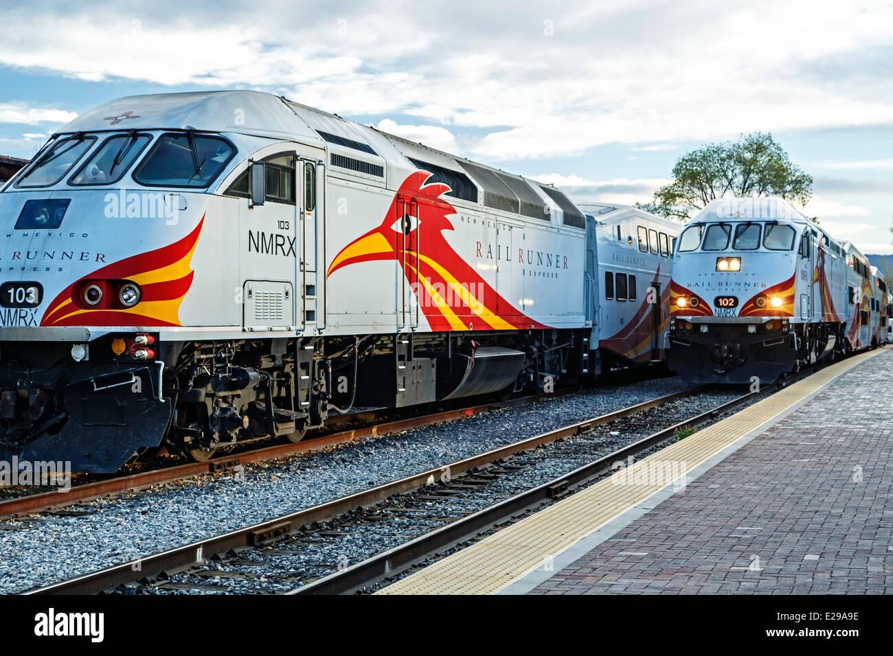 Railrunner Express commuter trains, Santa Fe Railyard, Santa Fe, New Mexico USA - Stock Image