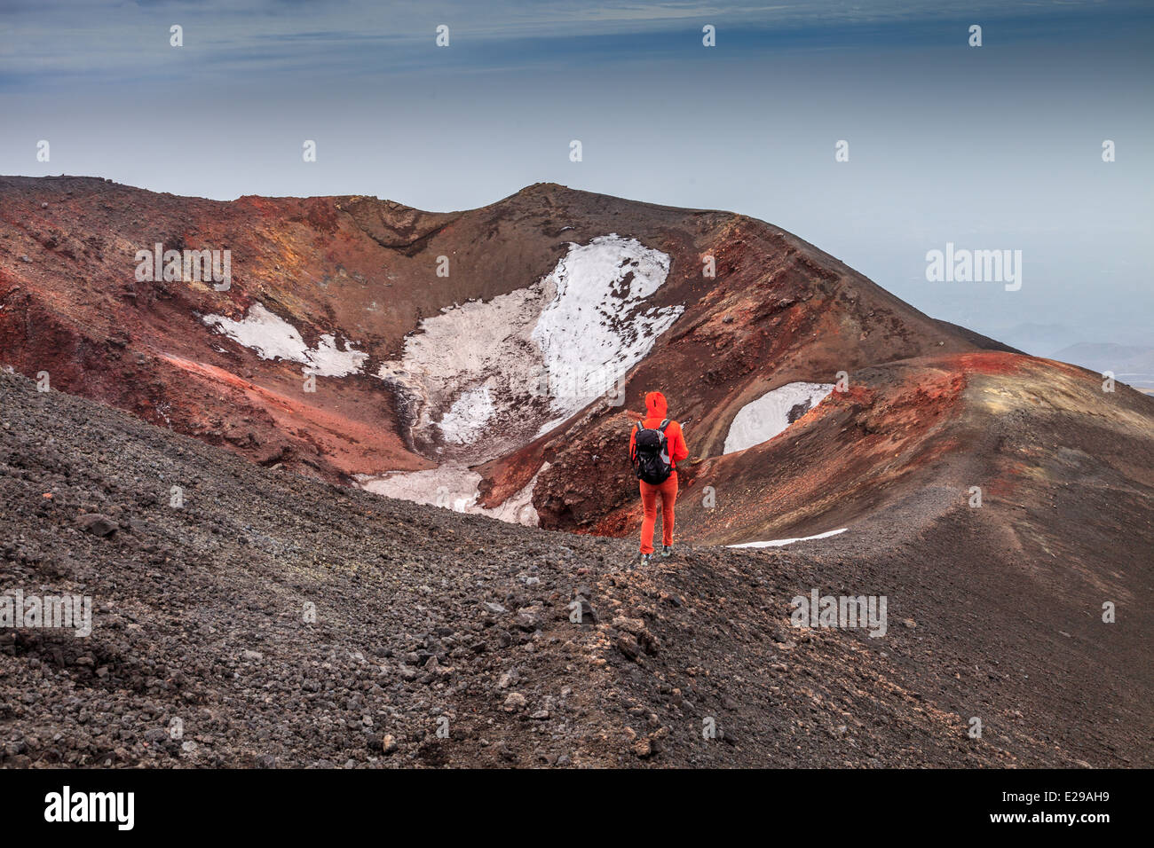Hiking over  the top of mount Etna - Stock Image