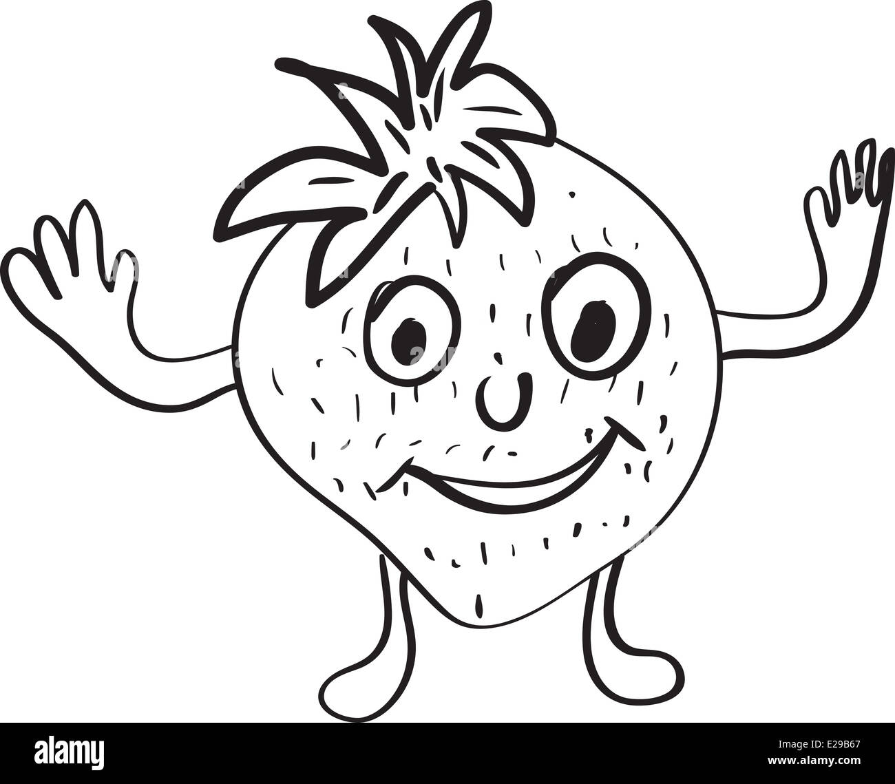 Simple Vector Drawing In The Style Of Strawberry Cartoon Sketches Stock Photo Alamy