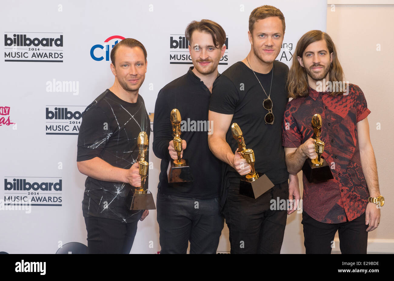 Members of the alternative rock band Imagine Dragons attend the 2014 Billboard Music Awards at the MGM Grand Garden - Stock Image