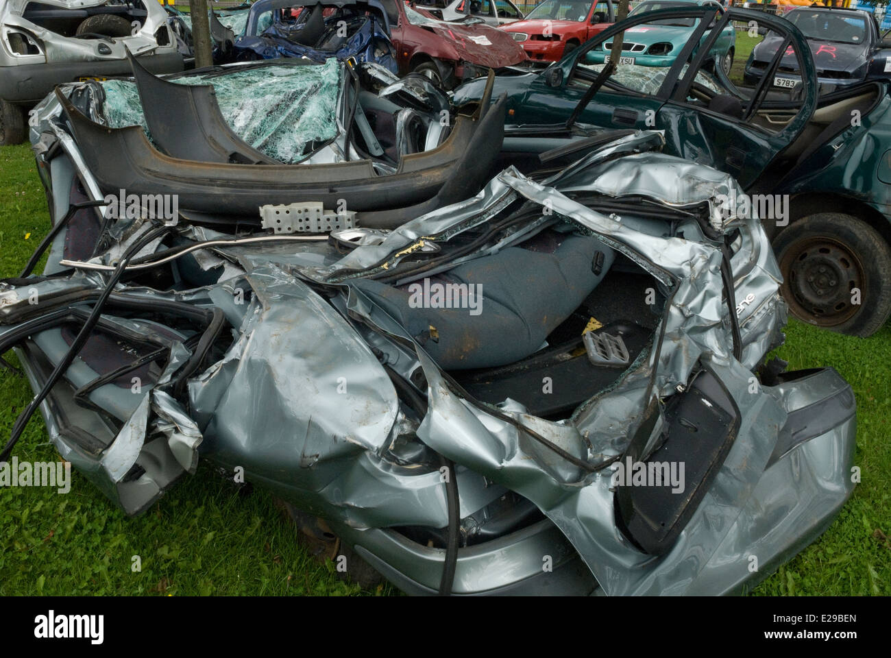 Car Wreckage Glasgow - Stock Image