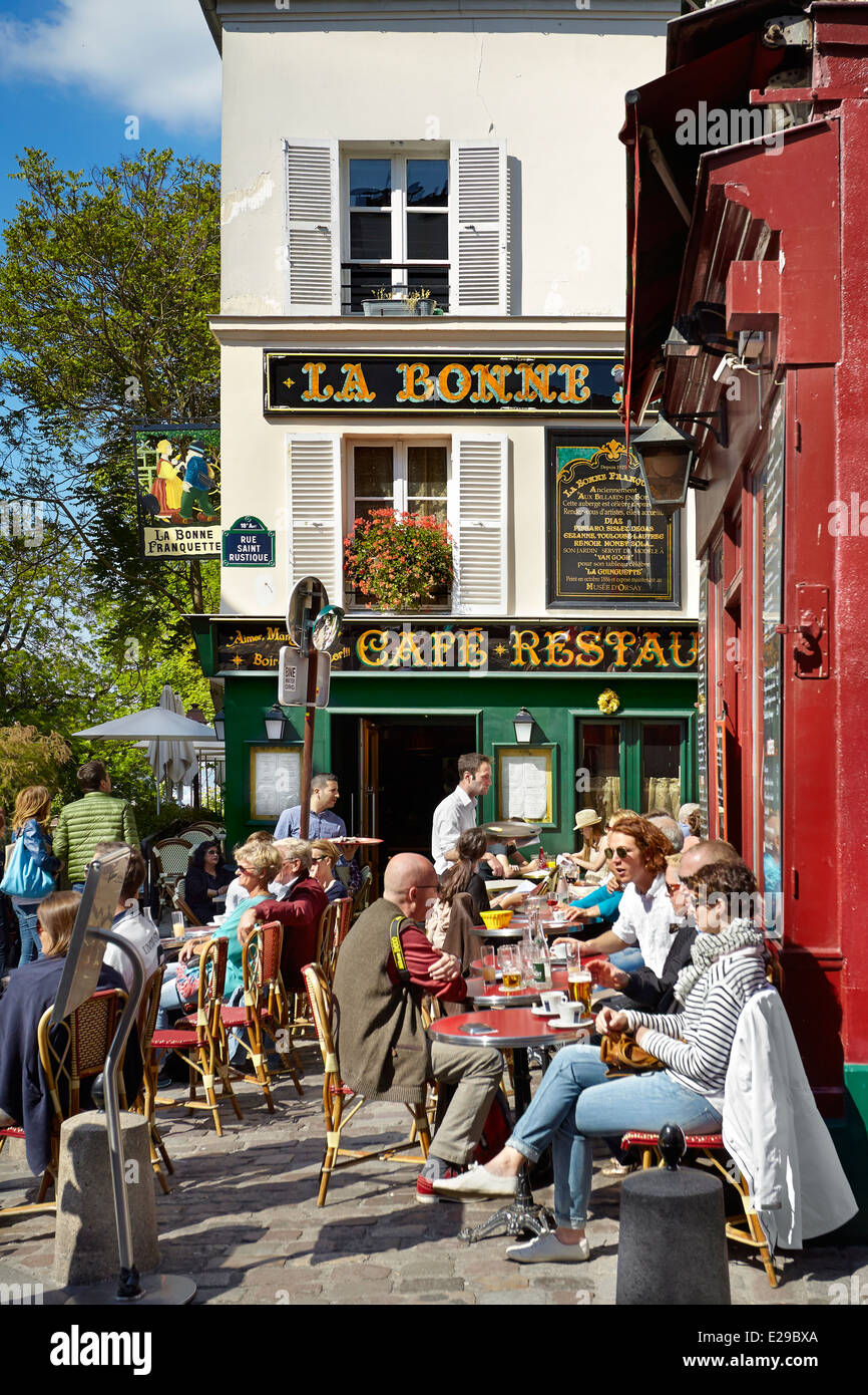 Turists in the Restaurant, Montmartre District, Paris, France - Stock Image