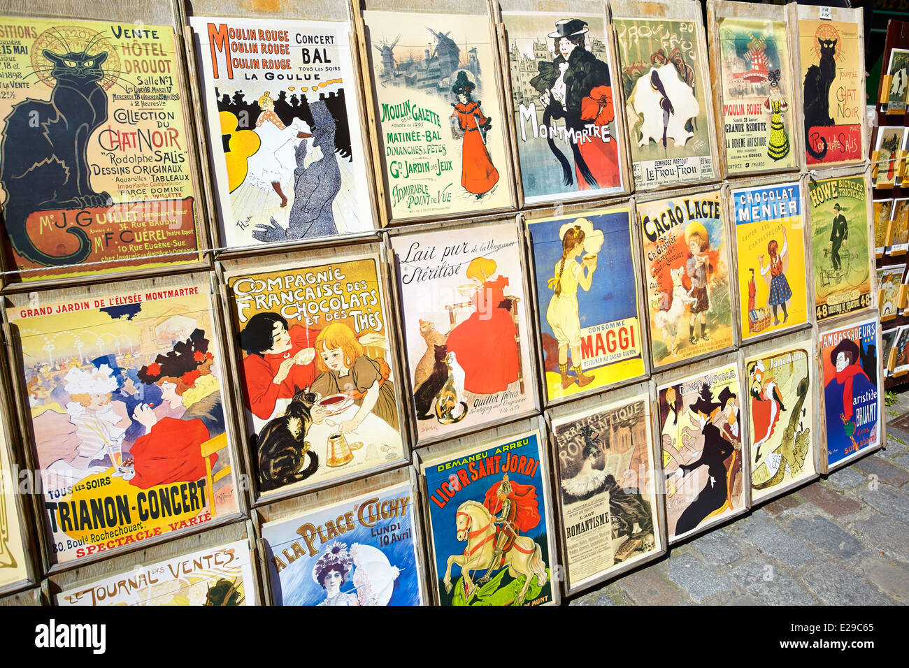 Reproduction of old posters, Montmartre District, Paris, France - Stock Image